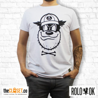 hombre camiseta blanca pete