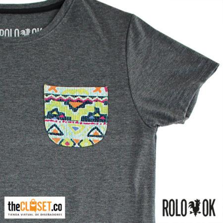 camiseta bolsillo zoom gris