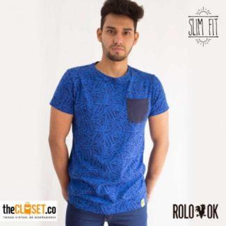 camiseta pattern bolsillo azul