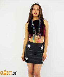 falda cuero estrella GLITCH theCloset.co diseño independiente