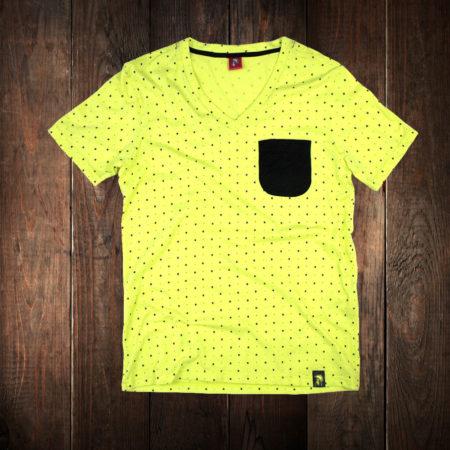 camiseta amarilla pattern bolsillo negro marca rolo-ok