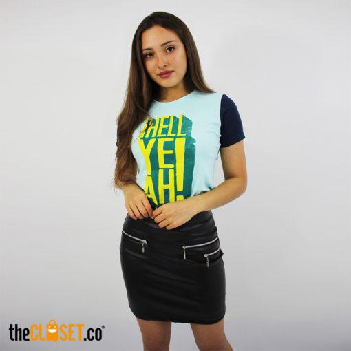 camiseta mujer ROLO-OK falda cuero corredera GLITCH theCloset.co diseño independiente