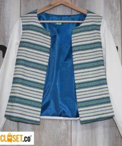 blazer lineas azul MILA CLOTHING theCloset.co diseño independiente