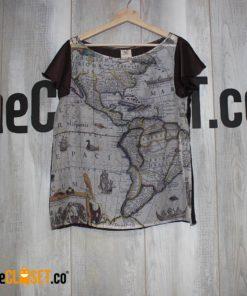 blusa mangas mapa antiguo