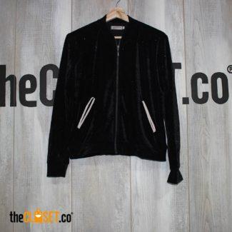 chaqueta bomber negra terciopelo escarchada
