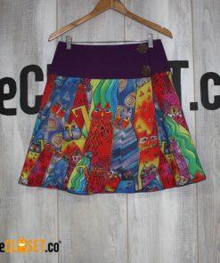 falda con proceso de estampado en sublimacion, obras de laurel burch