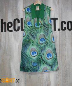 vestido corte estampado de plumas de pavo real